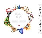 Watercolor Organic Farm Round...