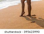 beautiful  woman walking on the ... | Shutterstock . vector #395623990