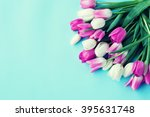Pink Colorful Tulips Over A...