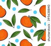 seamless hand drawn tangerine... | Shutterstock .eps vector #395638840