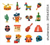 traditional mexican symbols... | Shutterstock .eps vector #395643514