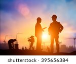 Small photo of Silhouette Successful male engineer standing survey work on construction over blurred Worker in construction site and nature