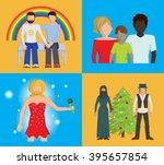 set of four bright vector flat... | Shutterstock .eps vector #395657854