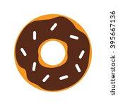 chocolate donut. flat design.... | Shutterstock .eps vector #395667136