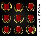 red shields with laurel wreath...   Shutterstock .eps vector #395668684
