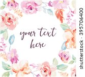 Watercolor Flower Frame. Vector Watercolor Flower Background. Vector Watercolour Flowers