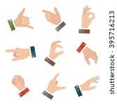 collection open empty hands... | Shutterstock .eps vector #395716213