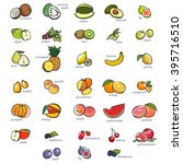 Icon Set Of Fruits  Hand Drawn...