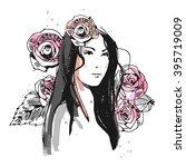 fashion portrait drawing sketch.... | Shutterstock .eps vector #395719009