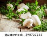 white mushrooms champignons ...   Shutterstock . vector #395731186