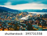 cityscape of bergen city and... | Shutterstock . vector #395731558