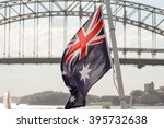 australian flag with sydney... | Shutterstock . vector #395732638