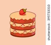 strawberry cake | Shutterstock .eps vector #395733310