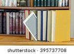 book in from of a book case   Shutterstock . vector #395737708