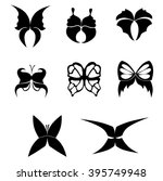 set of stylized black... | Shutterstock .eps vector #395749948