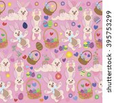 vector seamless rabbits and... | Shutterstock .eps vector #395753299