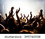 silhouettes of concert crowd in ... | Shutterstock . vector #395760538