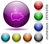 set of color euro piggy bank...