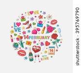 14 february set in the form of... | Shutterstock . vector #395769790