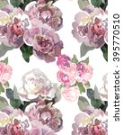 watercolor peonies pattern on... | Shutterstock . vector #395770510