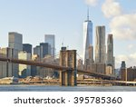 manhattan skyline with brooklyn ... | Shutterstock . vector #395785360