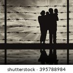 concept of refugee. silhouette... | Shutterstock . vector #395788984