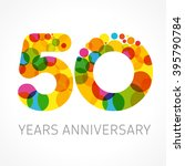 50 years old multicolored... | Shutterstock .eps vector #395790784