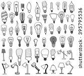 Set Of Bulb Doodle. Vector...