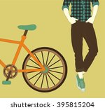 man standing next to his bike ... | Shutterstock .eps vector #395815204