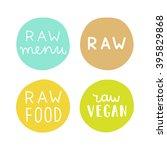 raw vegan badges. set of hand... | Shutterstock .eps vector #395829868