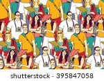 tourists crowd people color... | Shutterstock .eps vector #395847058