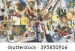 friends happiness enjoying... | Shutterstock . vector #395850916