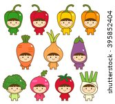 set of kids in cute vegetables... | Shutterstock .eps vector #395852404