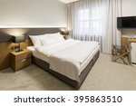 Stock photo interior of a modern new hotel room 395863510