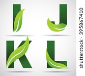 vector green alphabet set of... | Shutterstock .eps vector #395867410