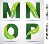 vector green alphabet set of... | Shutterstock .eps vector #395872450