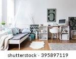 cozy modern bedroom with... | Shutterstock . vector #395897119