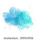 blue watercolor splatters.... | Shutterstock . vector #395914936