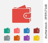 set of  red purse vector icon ...