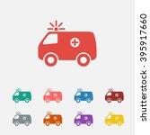Set Of  Red Ambulance Vector...