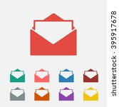 set of  red mail vector icon ...