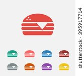 set of  red hamburger vector...