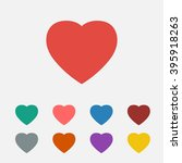 set of  red heart vector icon | Shutterstock .eps vector #395918263