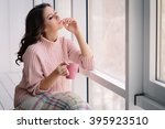 pretty young woman in the pink... | Shutterstock . vector #395923510