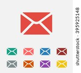 set of  red mail vector icon