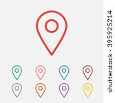 set of  red map pointer vector...