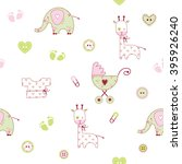 cute baby shower pattern | Shutterstock .eps vector #395926240