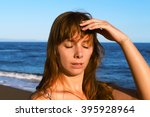 young woman with heatstroke.... | Shutterstock . vector #395928964