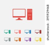 set of  red pc vector icon ...