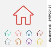 set of  red house vector icon ...